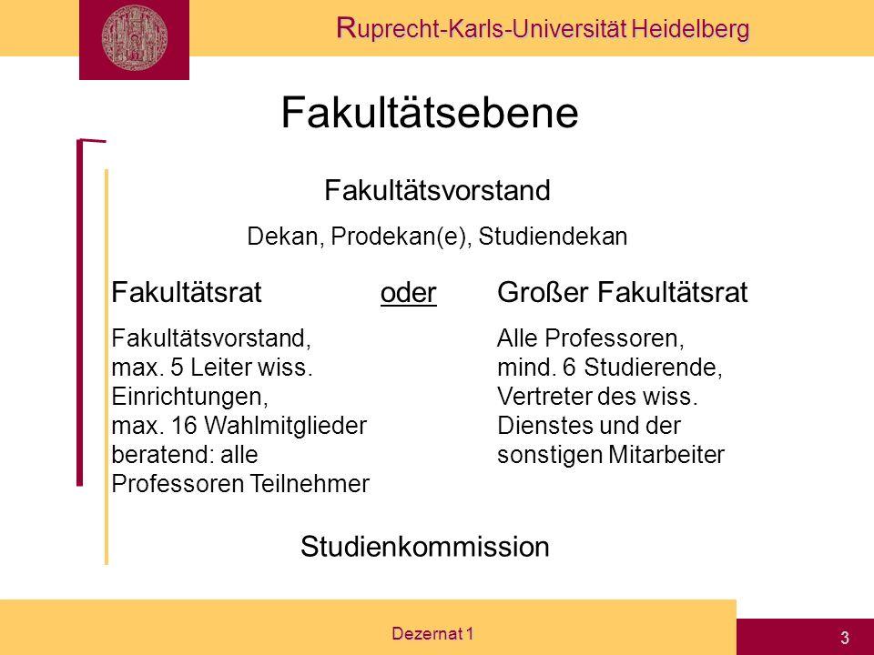 R uprecht-Karls-Universität Heidelberg Dezernat 1 3 Fakultätsebene Fakultätsvorstand Dekan, Prodekan(e), Studiendekan Fakultätsrat Fakultätsvorstand, max.