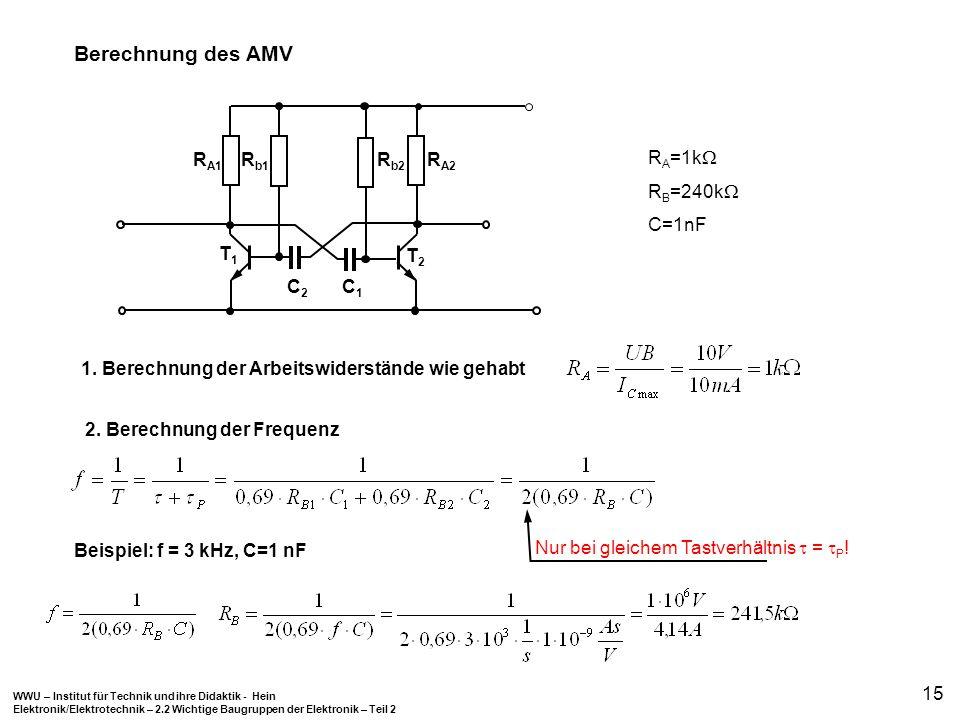WWU – Institut für Technik und ihre Didaktik - Hein Elektronik/Elektrotechnik – 2.2 Wichtige Baugruppen der Elektronik – Teil 2 15 R A1 C2C2 R A2 R b2
