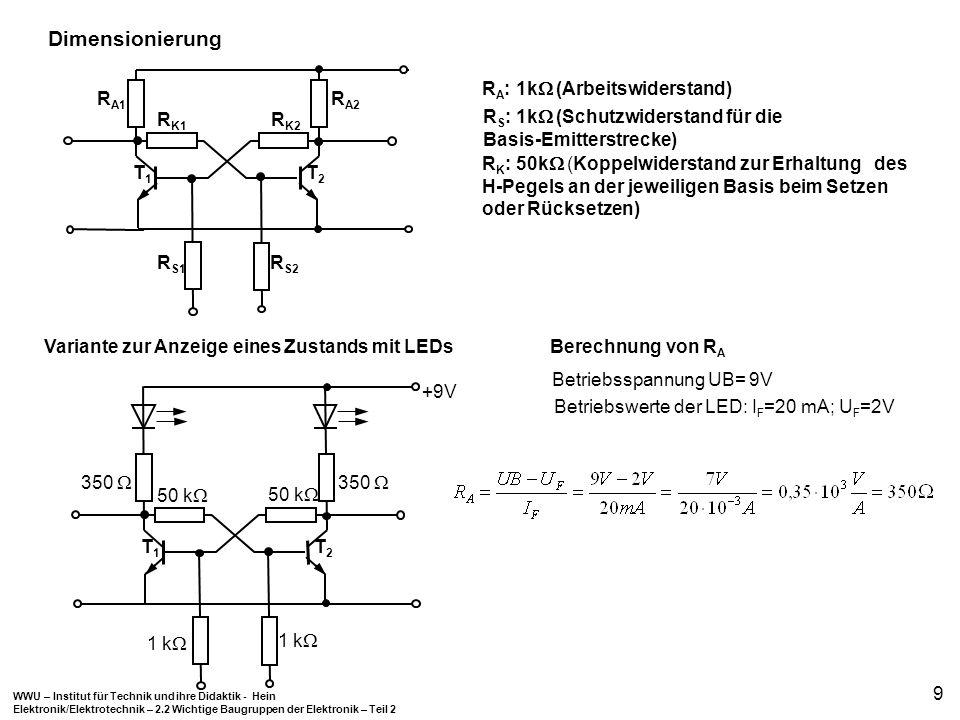 WWU – Institut für Technik und ihre Didaktik - Hein Elektronik/Elektrotechnik – 2.2 Wichtige Baugruppen der Elektronik – Teil 2 9 R A : 1k (Arbeitswid