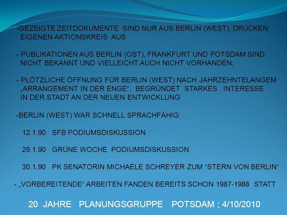 20 JAHRE PLANUNGSGRUPPE POTSDAM ; 4/10/2010 -BERLIN (WEST) WAR SCHNELL SPRACHFÄHIG: 12.1.90 SFB PODIUMSDISKUSSION 29.1.90 GRÜNE WOCHE PODIUMSDISKUSSIO