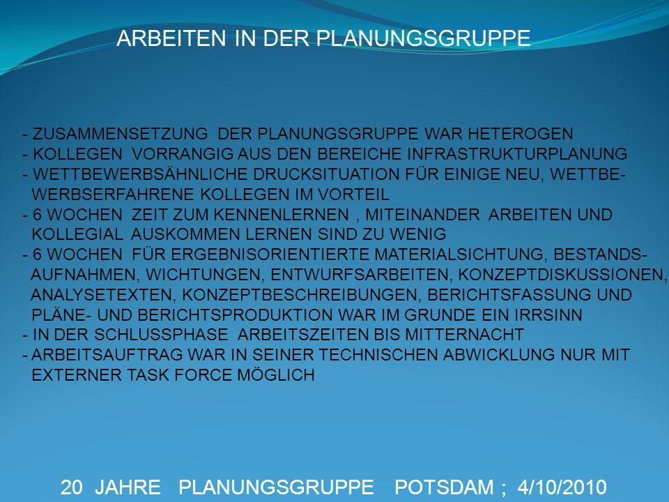 20 JAHRE PLANUNGSGRUPPE POTSDAM ; 4/10/2010 ARBEITEN IN DER PLANUNGSGRUPPE - ZUSAMMENSETZUNG DER PLANUNGSGRUPPE WAR HETEROGEN - KOLLEGEN VORRANGIG AUS
