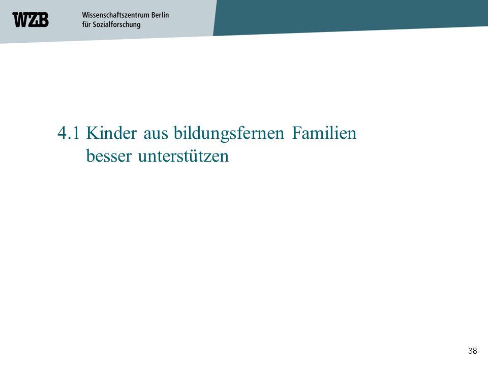 38 4.1 Kinder aus bildungsfernen Familien besser unterstützen