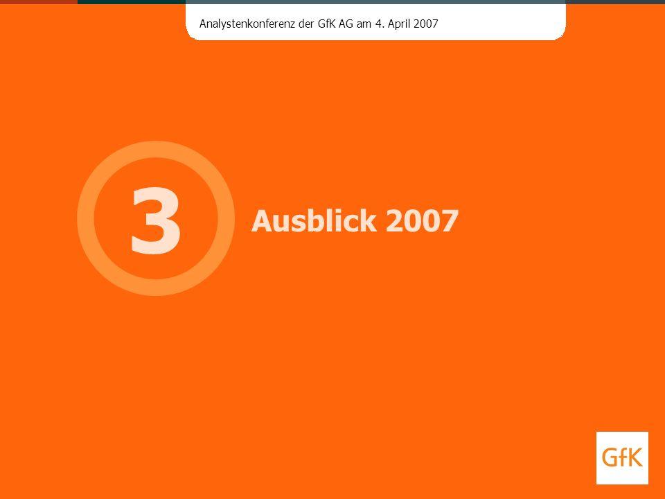 Analystenkonferenz der GfK AG am 4. April 2007 Ausblick 2007 3