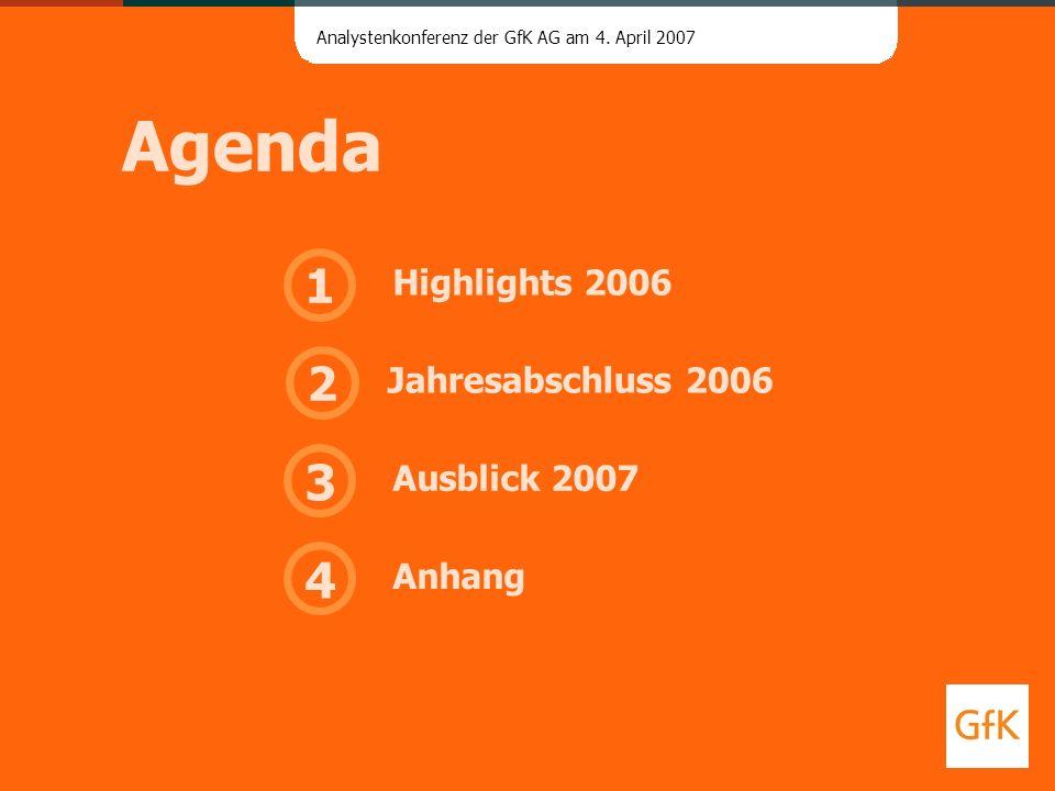 Analystenkonferenz der GfK AG am 4. April 2007 Agenda 4 3 1 Anhang Jahresabschluss 2006 Ausblick 2007 Highlights 2006 2