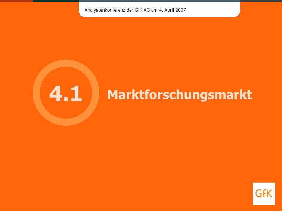 Analystenkonferenz der GfK AG am 4. April 2007 Marktforschungsmarkt 4.1