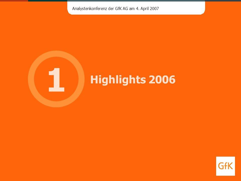 Analystenkonferenz der GfK AG am 4. April 2007 Highlights 2006 1