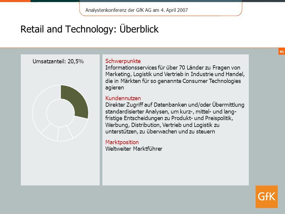 Analystenkonferenz der GfK AG am 4. April 2007 45 Retail and Technology: Überblick Schwerpunkte Informationsservices für über 70 Länder zu Fragen von