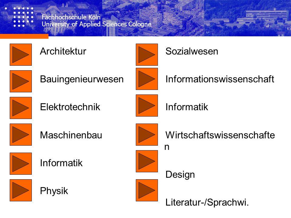 Architektur Bauingenieurwesen Elektrotechnik Maschinenbau Informatik Physik Sozialwesen Informationswissenschaft Informatik Wirtschaftswissenschafte n