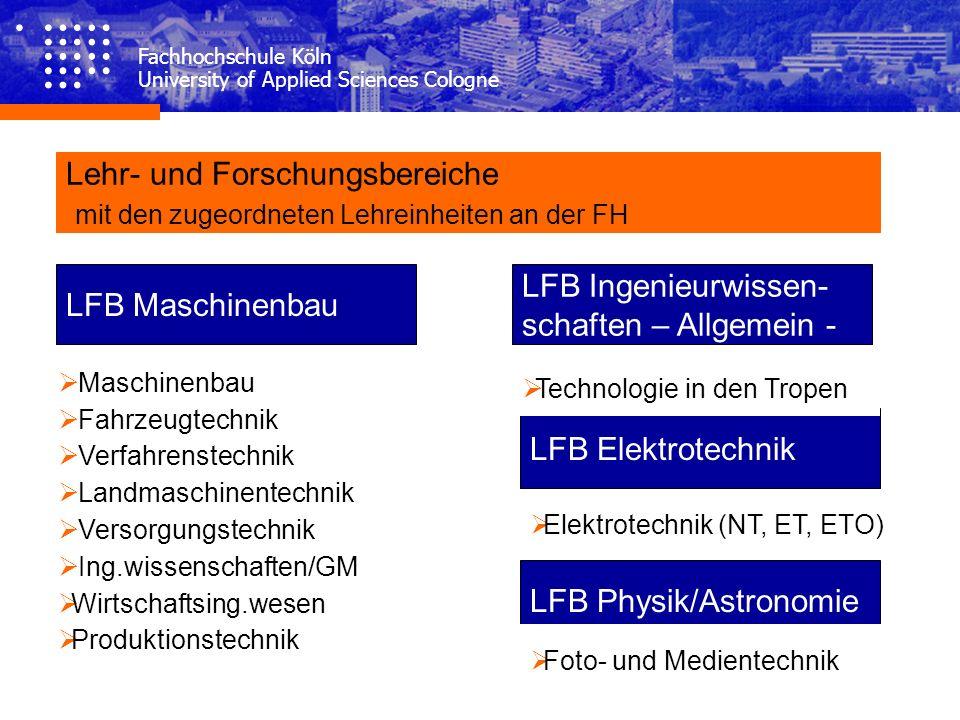 Fachhochschule Köln University of Applied Sciences Cologne LFB Maschinenbau Maschinenbau Fahrzeugtechnik Verfahrenstechnik Landmaschinentechnik Versor