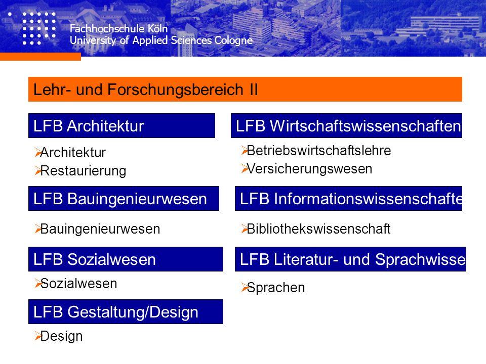 Fachhochschule Köln University of Applied Sciences Cologne Lehr- und Forschungsbereich II LFB Architektur Architektur Restaurierung Bauingenieurwesen