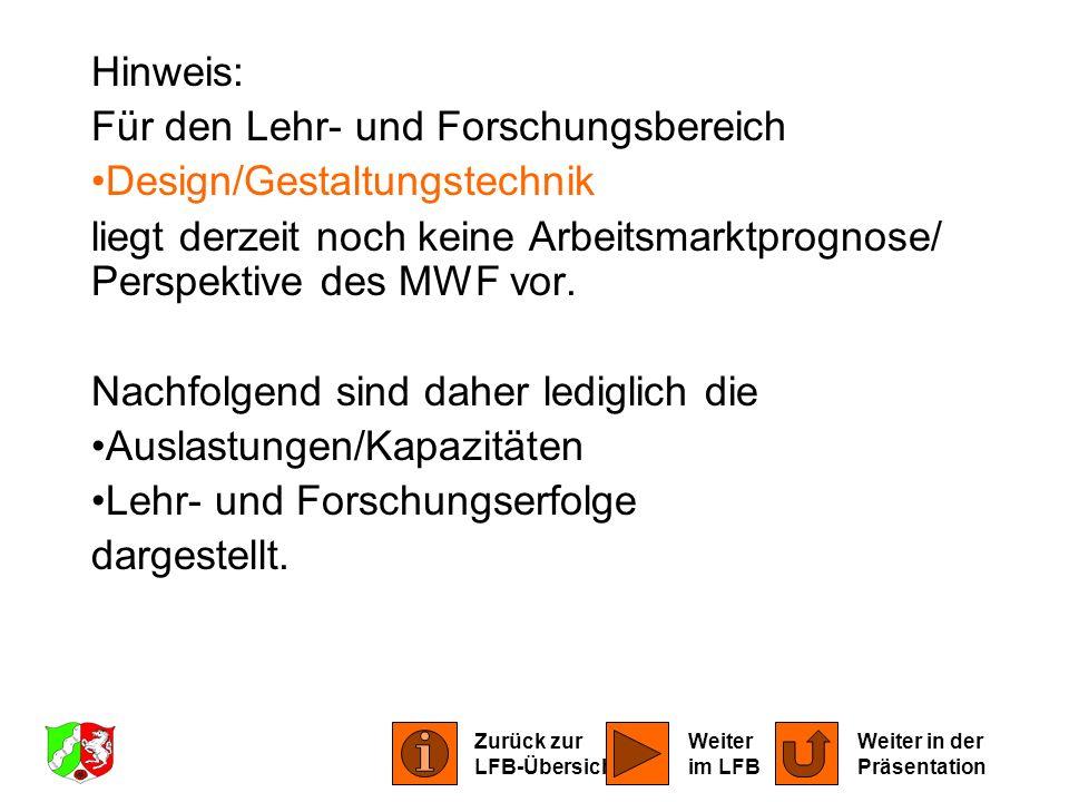 Hinweis: Für den Lehr- und Forschungsbereich Design/Gestaltungstechnik liegt derzeit noch keine Arbeitsmarktprognose/ Perspektive des MWF vor. Nachfol