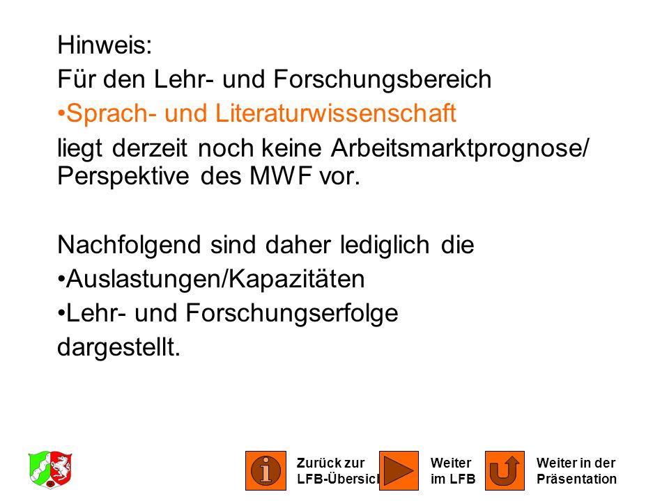 Hinweis: Für den Lehr- und Forschungsbereich Sprach- und Literaturwissenschaft liegt derzeit noch keine Arbeitsmarktprognose/ Perspektive des MWF vor.