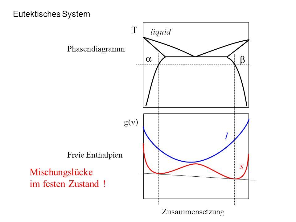 Eutektisches System Zusammensetzung g( ) l s T liquid Phasendiagramm Freie Enthalpien Mischungslücke im festen Zustand !
