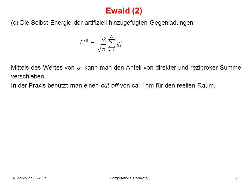 236. Vorlesung SS 2005 Computational Chemistry (c) Die Selbst-Energie der artifiziell hinzugefügten Gegenladungen: Mittels des Wertes von kann man den