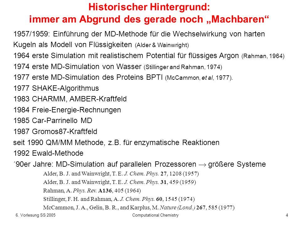 46. Vorlesung SS 2005 Computational Chemistry Historischer Hintergrund: immer am Abgrund des gerade noch Machbaren 1957/1959: Einführung der MD-Method