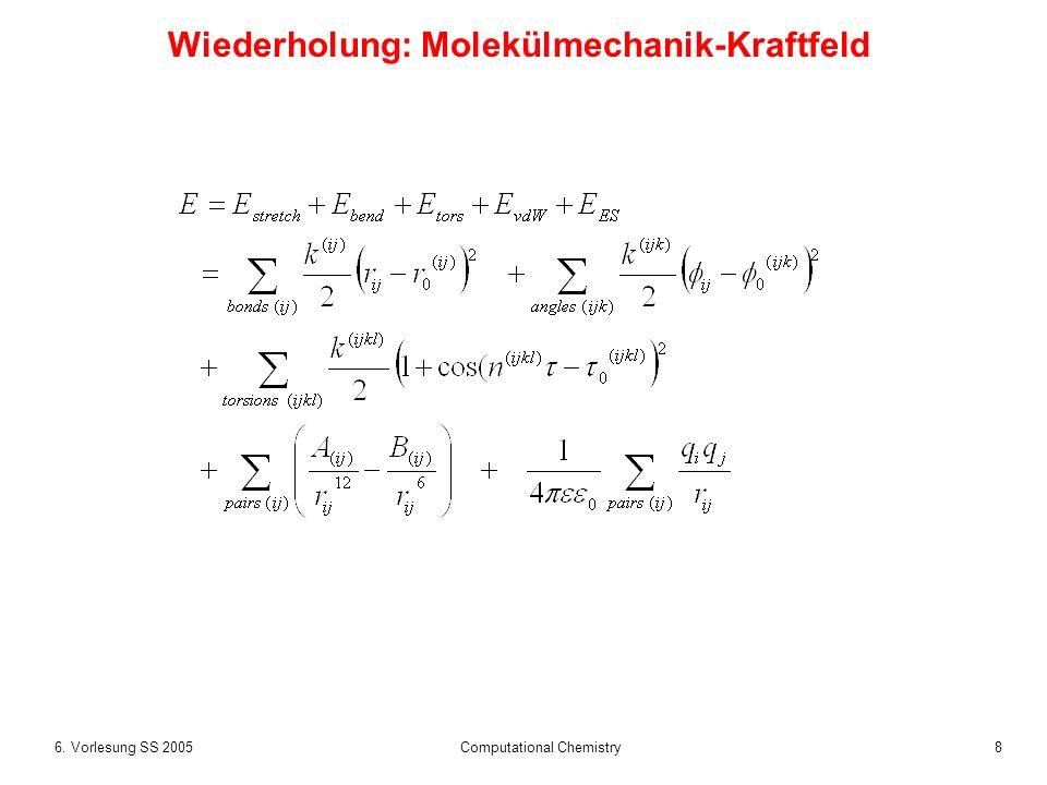 86. Vorlesung SS 2005 Computational Chemistry Wiederholung: Molekülmechanik-Kraftfeld