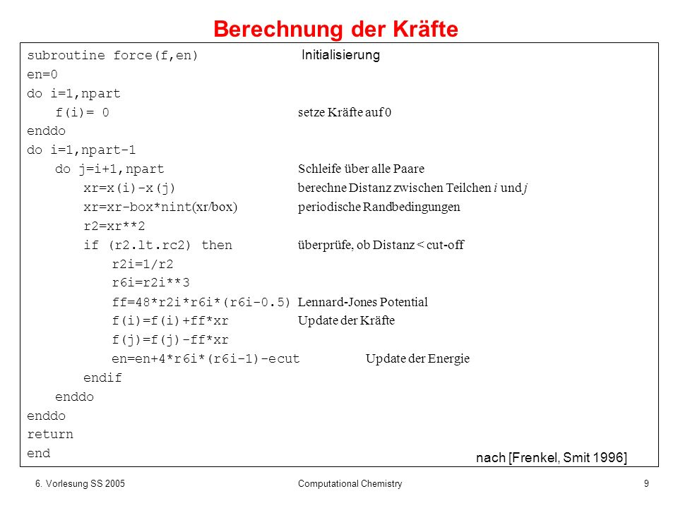 106.Vorlesung SS 2005 Computational Chemistry Es gibt N*(N-1) Paar-Wechselwirkungen.