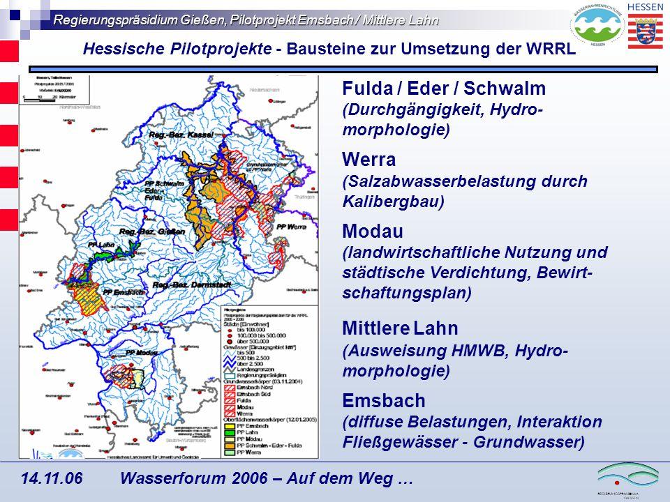 Regierungspräsidium Gießen, Pilotprojekt Emsbach / Mittlere Lahn Wasserforum 2006 – Auf dem Weg … 14.11.06 Minderungsszenarien: Relative Veränderung zum IST-Zustand bei M1 (20- prozentige Reduktion N Min ) und M2 (40-prozentige Reduktion N Min ).