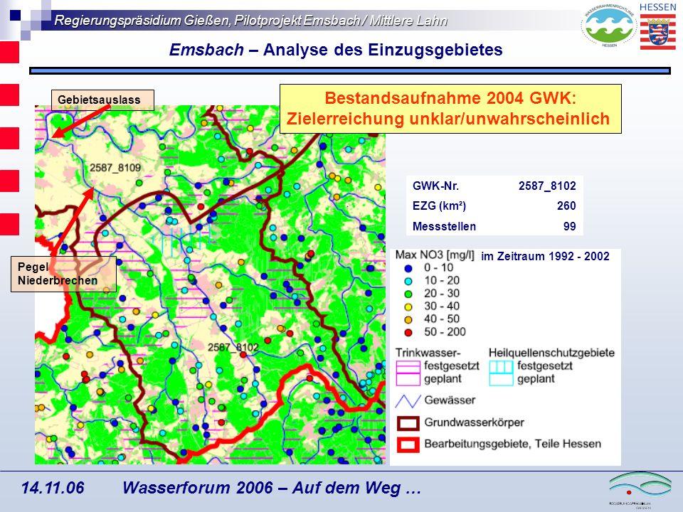 Regierungspräsidium Gießen, Pilotprojekt Emsbach / Mittlere Lahn Wasserforum 2006 – Auf dem Weg … 14.11.06 Veringerung von Phosphoreinträgen Mit Hilfe der beschriebenen Vorgehensweise wurden die ackerbaulich genutzten Flächen (rosa Flächen) identifiziert, die sich in einem Abstand von weniger als 500 m zu einem Fließgewässer befinden und somit einen potenziellen Eintragspfad erosionsbedingter Phosphoremissionen darstellen.