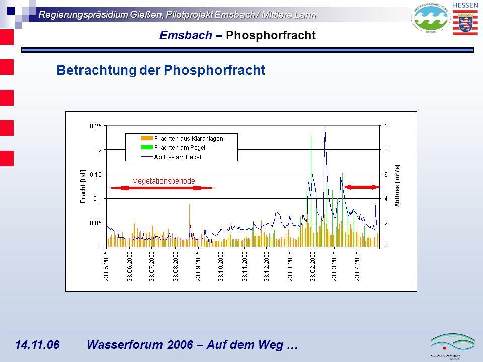 Regierungspräsidium Gießen, Pilotprojekt Emsbach / Mittlere Lahn Wasserforum 2006 – Auf dem Weg … 14.11.06 Differenzierung der N-Frachten aus dem Grundwasser nach der Landnutzung: (Flächenanteile x Grundwasserneubildung x Konzentrationen) Anteile an diffuser N-Fracht [%] Grundwasserneubildung für das EZG liegt bei 790 m 3 /ha/Jahr Emsbach – Differenzierung der Grundwasserfrachten