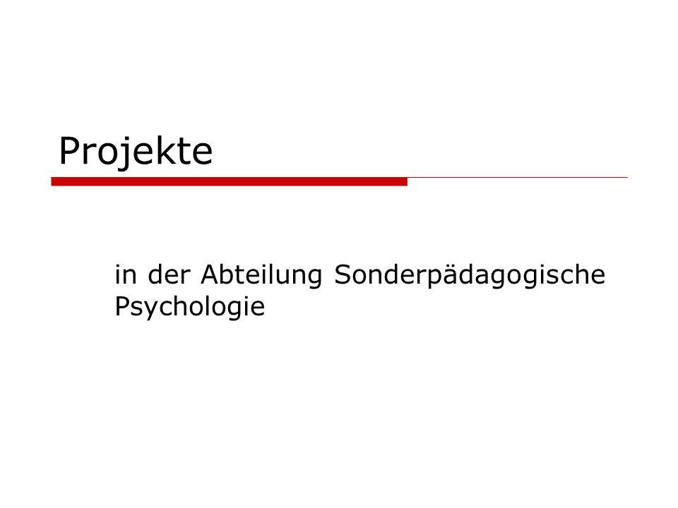 Projekte in der Abteilung Sonderpädagogische Psychologie