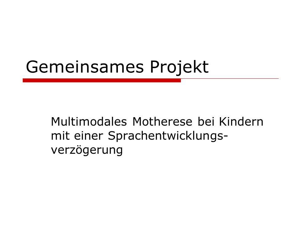 Gemeinsames Projekt Multimodales Motherese bei Kindern mit einer Sprachentwicklungs- verzögerung