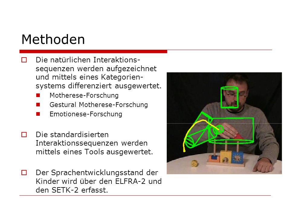 Methoden Die natürlichen Interaktions- sequenzen werden aufgezeichnet und mittels eines Kategorien- systems differenziert ausgewertet. Motherese-Forsc