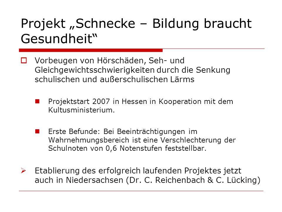 Vorbeugen von Hörschäden, Seh- und Gleichgewichtsschwierigkeiten durch die Senkung schulischen und außerschulischen Lärms Projektstart 2007 in Hessen
