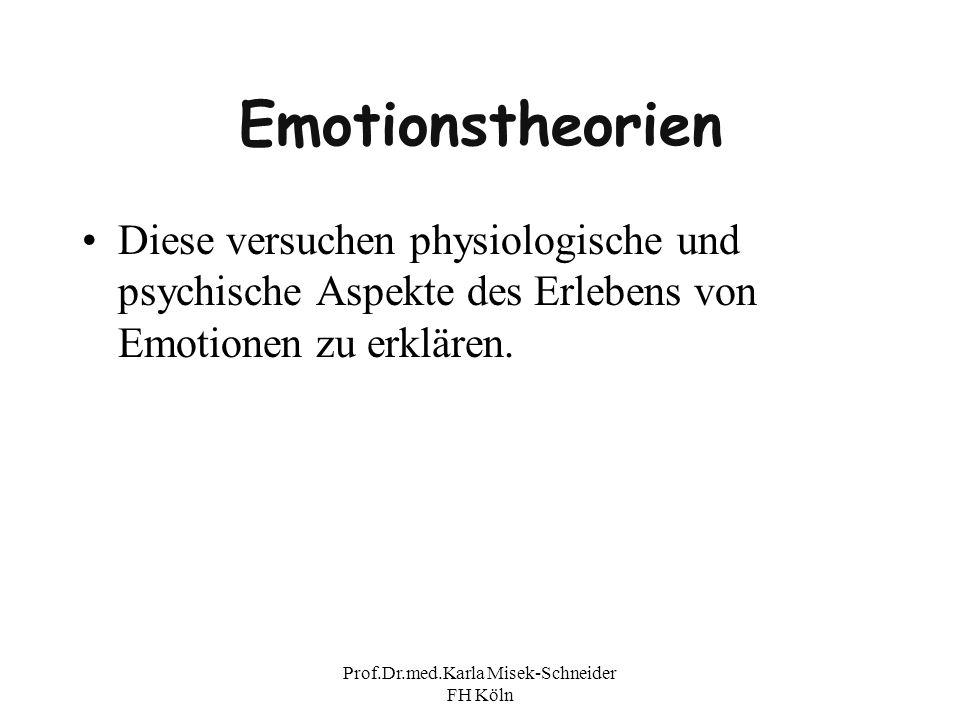 Prof.Dr.med.Karla Misek-Schneider FH Köln Emotionstheorien Diese versuchen physiologische und psychische Aspekte des Erlebens von Emotionen zu erkläre