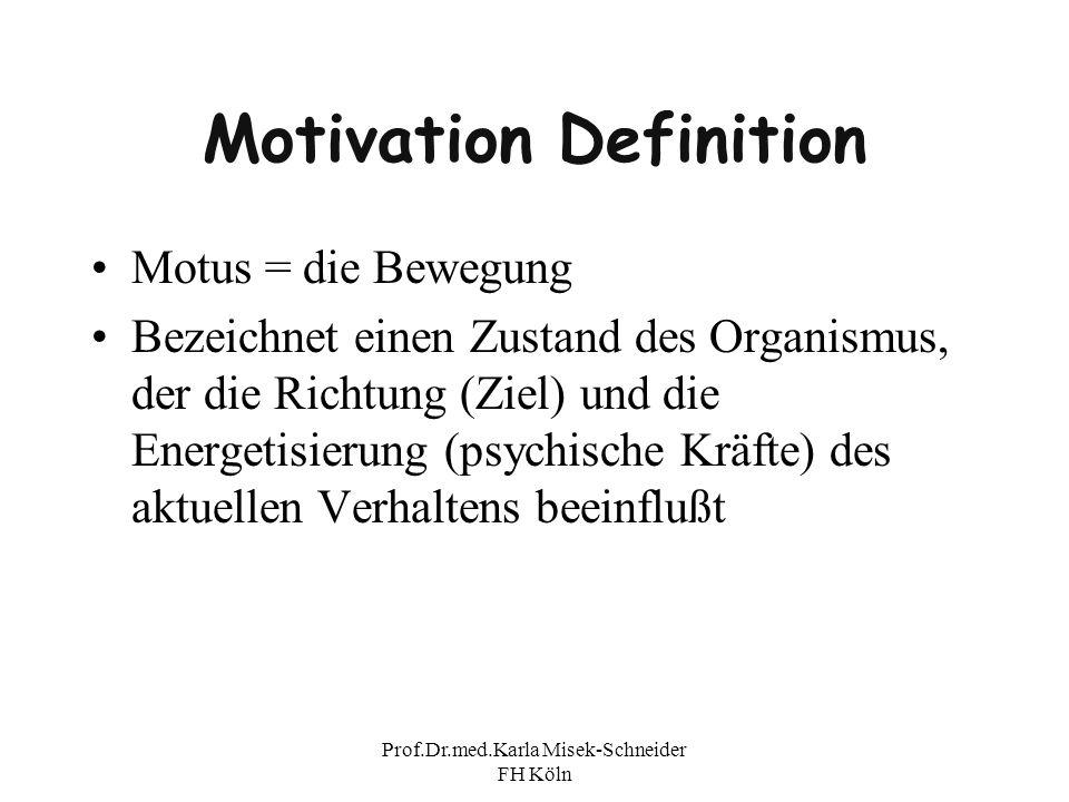 Prof.Dr.med.Karla Misek-Schneider FH Köln Motivation Definition Motus = die Bewegung Bezeichnet einen Zustand des Organismus, der die Richtung (Ziel)
