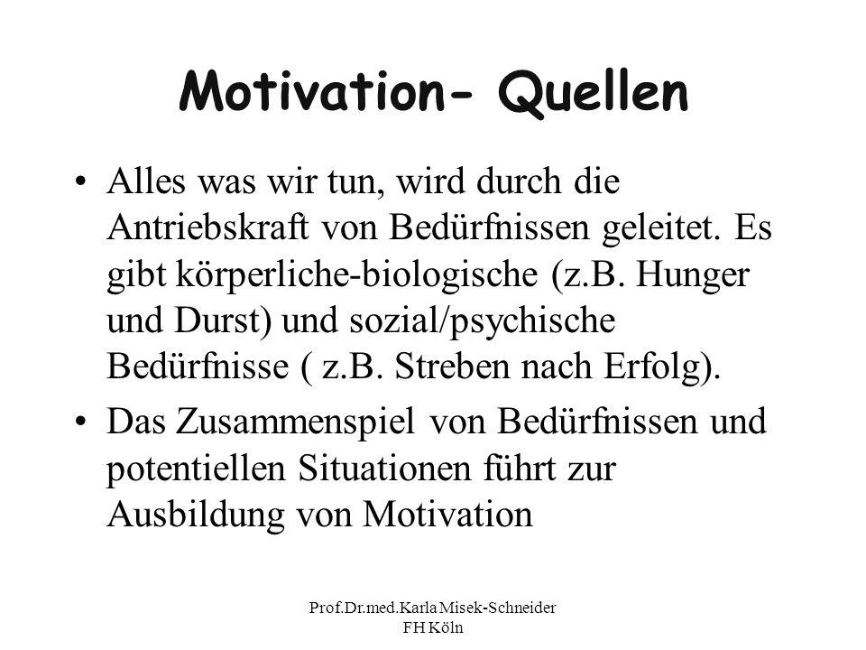 Prof.Dr.med.Karla Misek-Schneider FH Köln Motivation- Quellen Alles was wir tun, wird durch die Antriebskraft von Bedürfnissen geleitet. Es gibt körpe