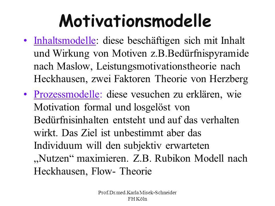 Prof.Dr.med.Karla Misek-Schneider FH Köln Motivationsmodelle Inhaltsmodelle: diese beschäftigen sich mit Inhalt und Wirkung von Motiven z.B.Bedürfnisp