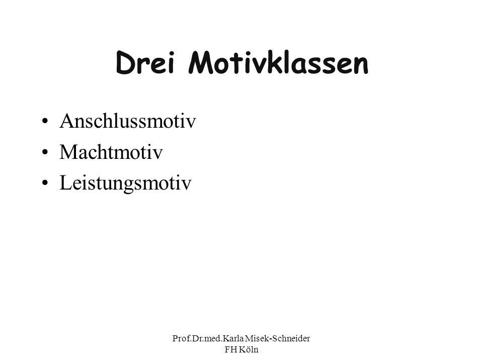 Prof.Dr.med.Karla Misek-Schneider FH Köln Drei Motivklassen Anschlussmotiv Machtmotiv Leistungsmotiv