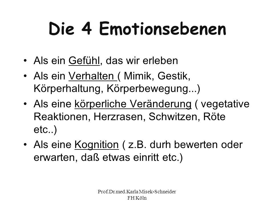 Prof.Dr.med.Karla Misek-Schneider FH Köln Emotion und Gefühl Wir erleben Angst (Gefühl) Weichen Zurück (Verhalten) Puls beginnt zu rasen Und wir denken : WEG HIER