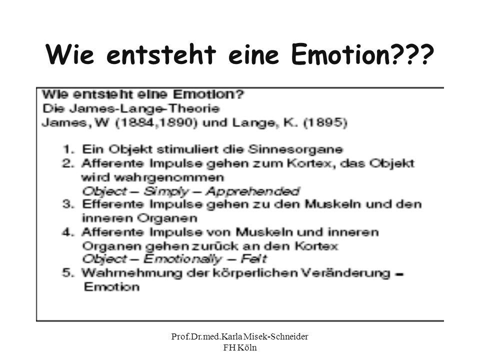 Prof.Dr.med.Karla Misek-Schneider FH Köln Wie entsteht eine Emotion???