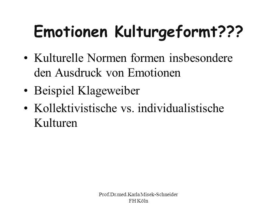 Prof.Dr.med.Karla Misek-Schneider FH Köln Emotionen Kulturgeformt??? Kulturelle Normen formen insbesondere den Ausdruck von Emotionen Beispiel Klagewe