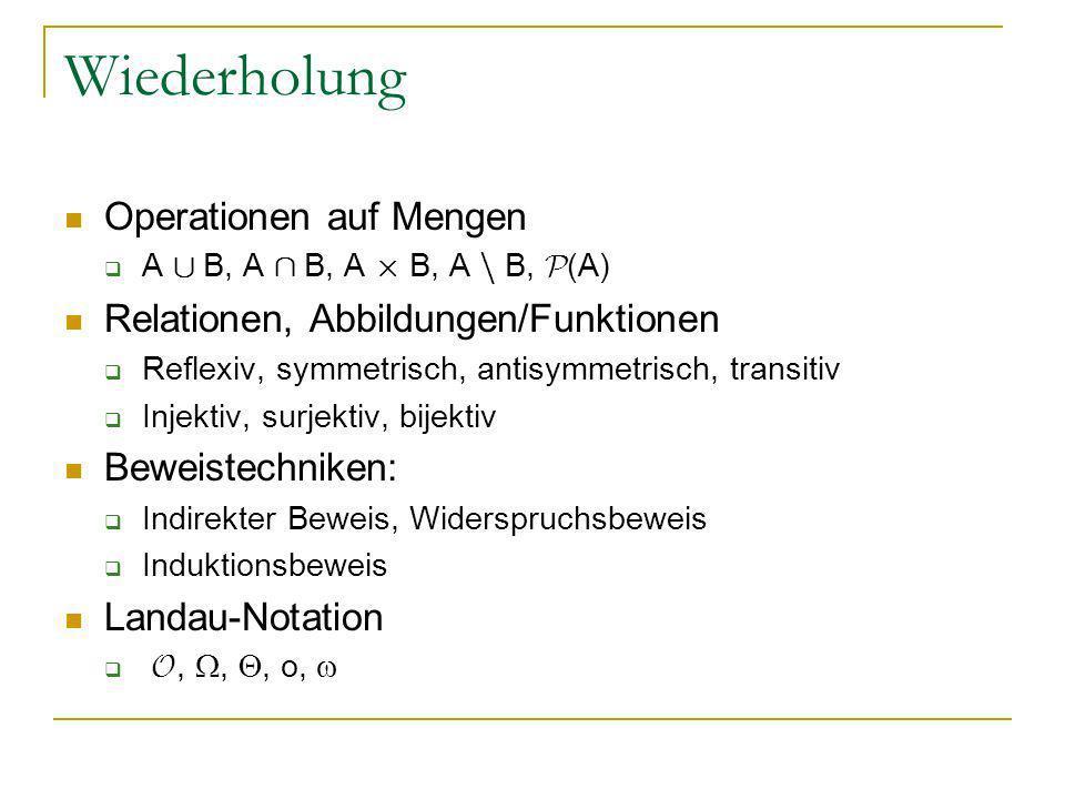 Wiederholung Operationen auf Mengen A [ B, A Å B, A £ B, A n B, P (A) Relationen, Abbildungen/Funktionen Reflexiv, symmetrisch, antisymmetrisch, trans