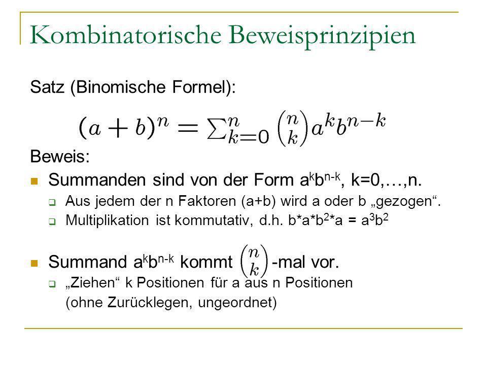 Kombinatorische Beweisprinzipien Satz (Binomische Formel): Beweis: Summanden sind von der Form a k b n-k, k=0,…,n. Aus jedem der n Faktoren (a+b) wird