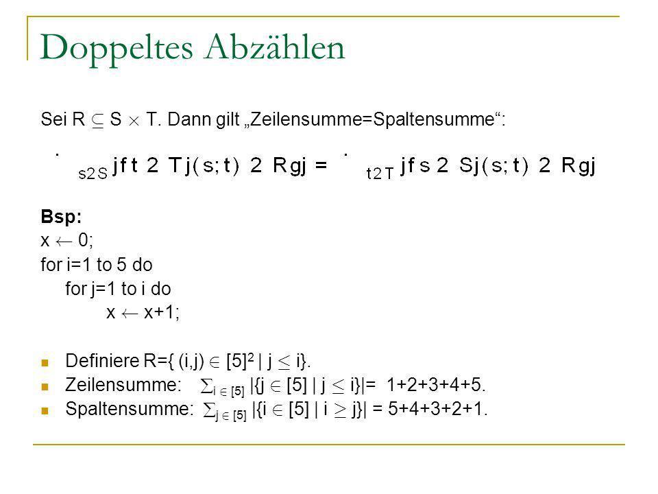 Doppeltes Abzählen Sei R µ S £ T. Dann gilt Zeilensumme=Spaltensumme: Bsp: x à 0; for i=1 to 5 do for j=1 to i do x à x+1; Definiere R={ (i,j) 2 [5] 2