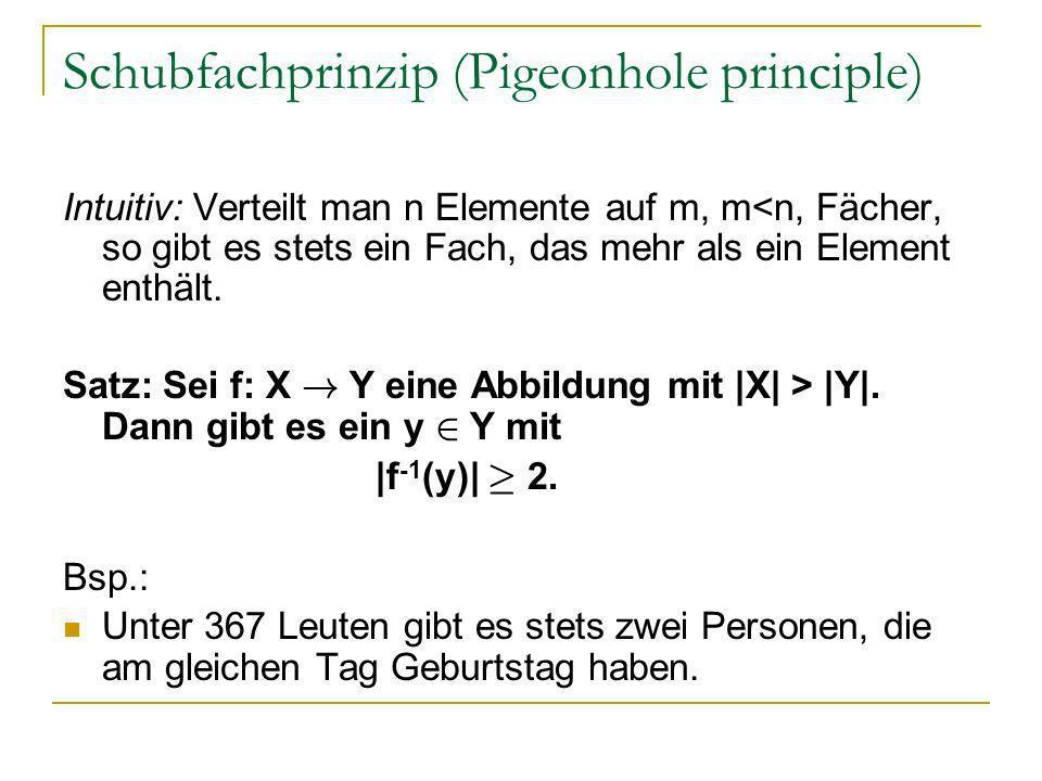 Schubfachprinzip (Pigeonhole principle) Intuitiv: Verteilt man n Elemente auf m, m<n, Fächer, so gibt es stets ein Fach, das mehr als ein Element enth