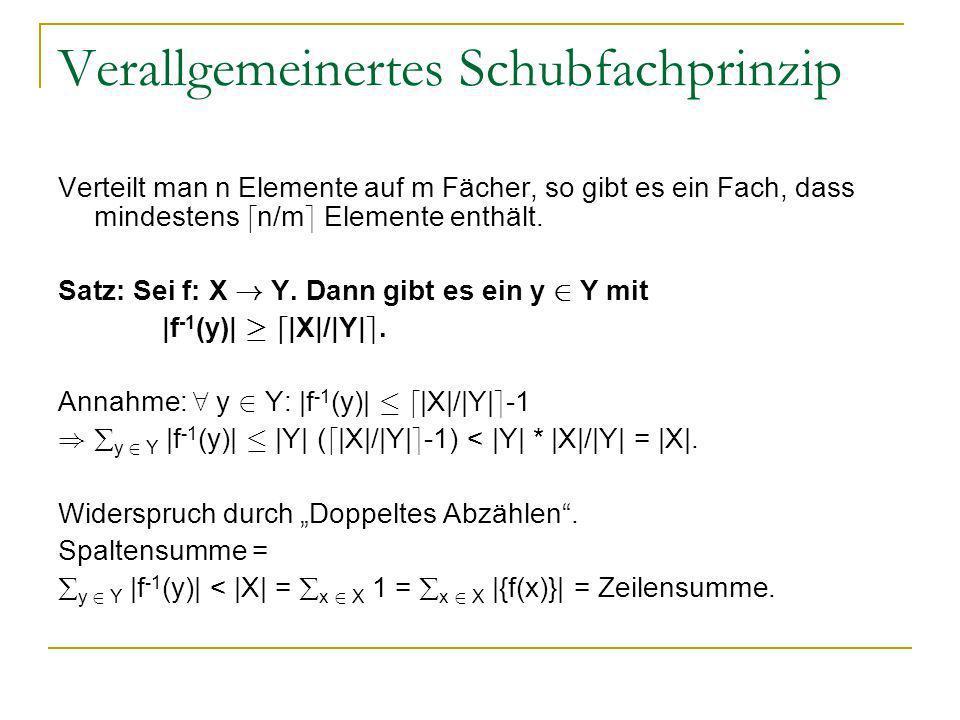 Verallgemeinertes Schubfachprinzip Verteilt man n Elemente auf m Fächer, so gibt es ein Fach, dass mindestens d n/m e Elemente enthält. Satz: Sei f: X
