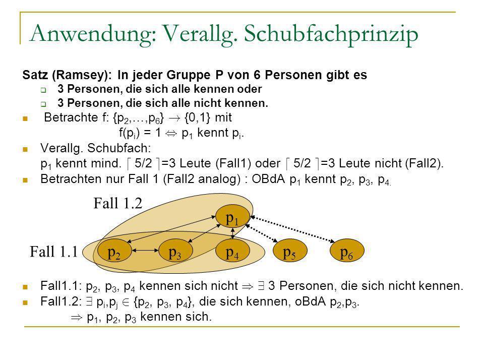 Anwendung: Verallg. Schubfachprinzip Satz (Ramsey): In jeder Gruppe P von 6 Personen gibt es 3 Personen, die sich alle kennen oder 3 Personen, die sic