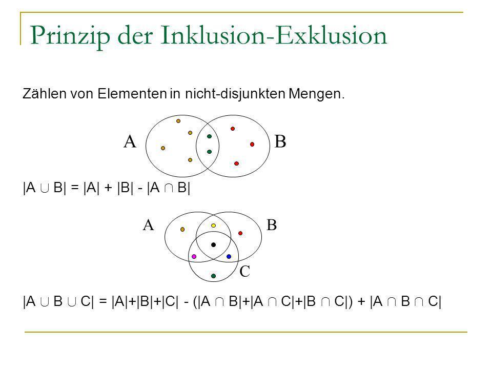 Prinzip der Inklusion-Exklusion Zählen von Elementen in nicht-disjunkten Mengen. |A [ B| = |A| + |B| - |A Å B| |A [ B [ C| = |A|+|B|+|C| - (|A Å B|+|A