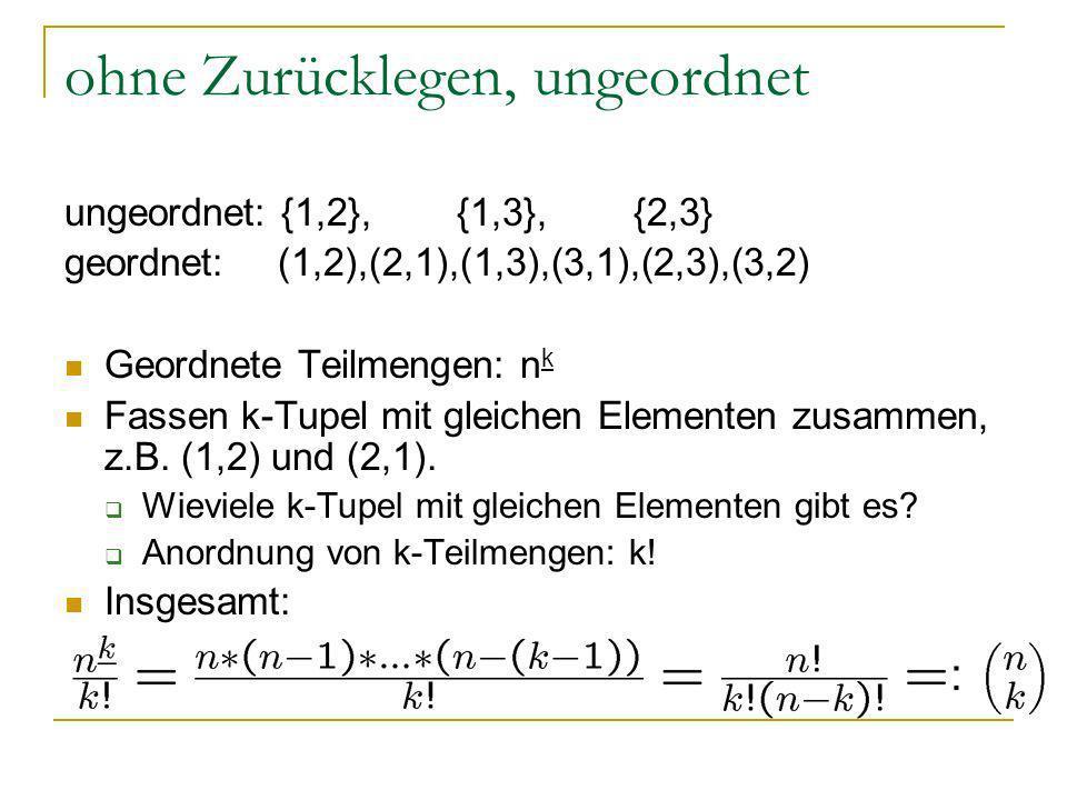 ohne Zurücklegen, ungeordnet ungeordnet: {1,2}, {1,3}, {2,3} geordnet: (1,2),(2,1),(1,3),(3,1),(2,3),(3,2) Geordnete Teilmengen: n k Fassen k-Tupel mi