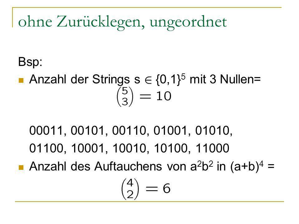 ohne Zurücklegen, ungeordnet Bsp: Anzahl der Strings s 2 {0,1} 5 mit 3 Nullen= 00011, 00101, 00110, 01001, 01010, 01100, 10001, 10010, 10100, 11000 An