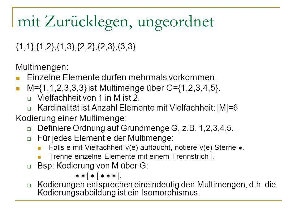 mit Zurücklegen, ungeordnet {1,1},{1,2},{1,3},{2,2},{2,3},{3,3} Multimengen: Einzelne Elemente dürfen mehrmals vorkommen. M={1,1,2,3,3,3} ist Multimen