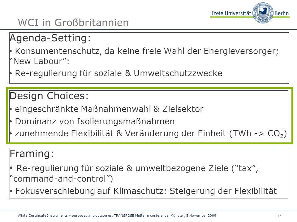 15 WCI in Großbritannien Agenda-Setting: Konsumentenschutz, da keine freie Wahl der Energieversorger; New Labour: Re-regulierung für soziale & Umweltschutzzwecke Design Choices: eingeschränkte Maßnahmenwahl & Zielsektor Dominanz von Isolierungsmaßnahmen zunehmende Flexibilität & Veränderung der Einheit (TWh -> CO 2 ) Framing: Re-regulierung für soziale & umweltbezogene Ziele (tax, command-and-control) Fokusverschiebung auf Klimaschutz: Steigerung der Flexibilität White Certificate Instruments – purposes and outcomes, TRANSPOSE Midterm conference, Münster, 5 November 2009