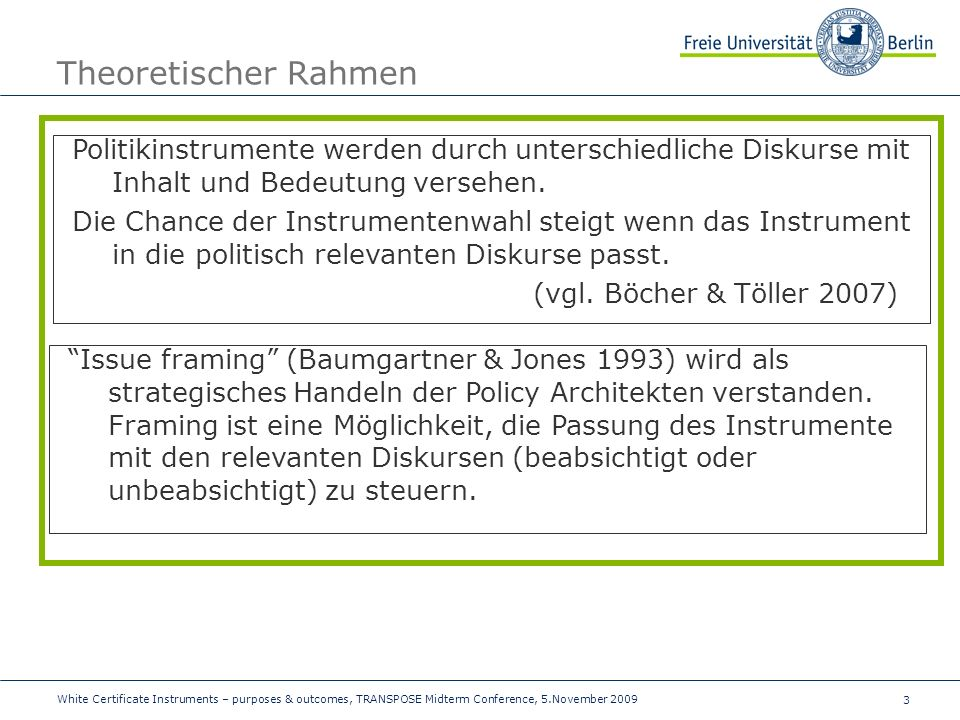 3 Theoretischer Rahmen White Certificate Instruments – purposes & outcomes, TRANSPOSE Midterm Conference, 5.November 2009 Politikinstrumente werden du