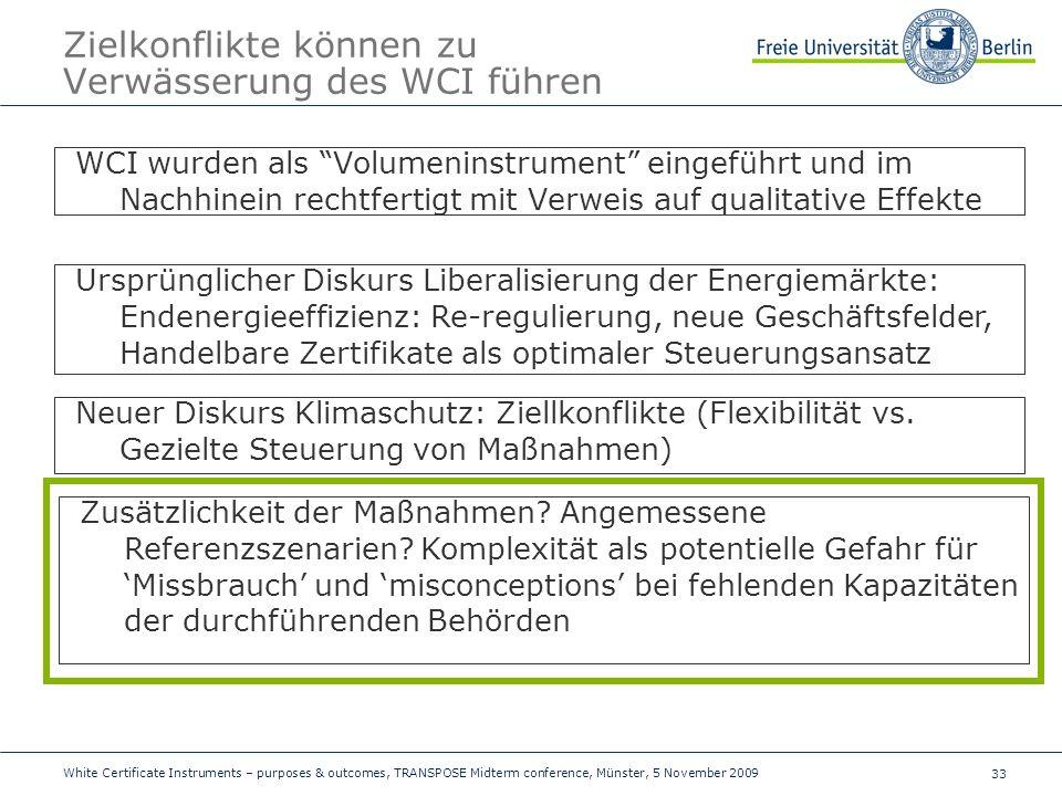 33 Zielkonflikte können zu Verwässerung des WCI führen WCI wurden als Volumeninstrument eingeführt und im Nachhinein rechtfertigt mit Verweis auf qualitative Effekte Ursprünglicher Diskurs Liberalisierung der Energiemärkte: Endenergieeffizienz: Re-regulierung, neue Geschäftsfelder, Handelbare Zertifikate als optimaler Steuerungsansatz Neuer Diskurs Klimaschutz: Ziellkonflikte (Flexibilität vs.