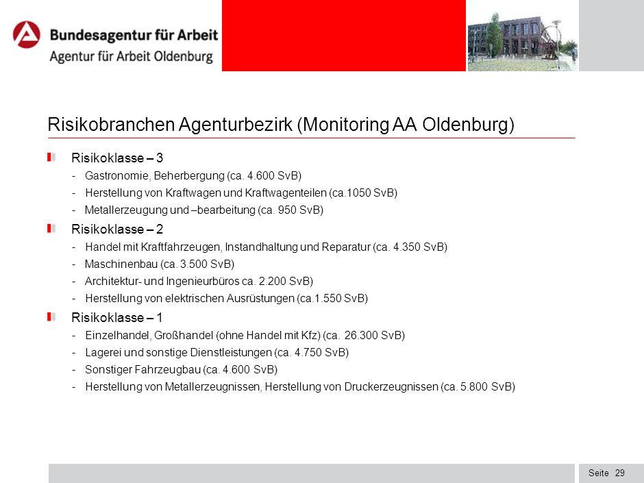 Seite28 Risikomonitor lokaler Arbeitsmarkt bis 31.12.2009 nach Erkenntnissen der AA Oldenburg - Finanzdienstleistungen - Automobil- und Maschinenbau -